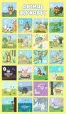 Alfabeto e grupo animal do vetor Ilustração Educação para crianças, pré-escolar, bonito, cartaz Caráteres tirados mão dos animais