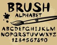 Alfabeto e número pretos da escova Imagens de Stock