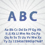 Alfabeto e números completos do Grunge Fotografia de Stock