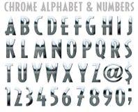 Alfabeto e números de Chrome ilustração do vetor
