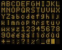 Alfabeto e números do diodo emissor de luz Imagens de Stock