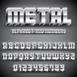 Alfabeto e números do metal ilustração do vetor