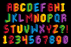 Alfabeto e números isométricos do pixel 3D Fotografia de Stock Royalty Free