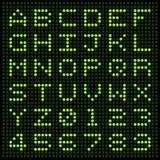 Alfabeto e números do diodo emissor de luz Imagem de Stock