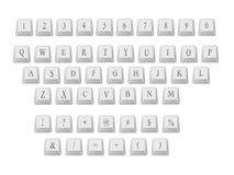 Alfabeto e numeri della tastiera Fotografie Stock Libere da Diritti