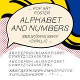 Alfabeto e numeri di Pop art dei fumetti Immagini Stock Libere da Diritti