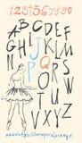 Alfabeto e numeri disegnati a mano dentro Immagini Stock Libere da Diritti