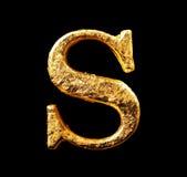 Alfabeto e numeri in foglia di oro Immagini Stock Libere da Diritti