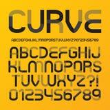 Alfabeto e numeri futuristici astratti della curva Immagine Stock