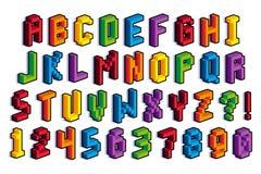 Alfabeto e numeri isometrici del pixel 3D Fotografia Stock