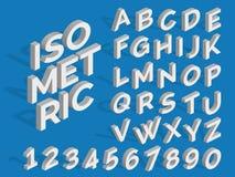 Alfabeto e numeri isometrici di vettore Fonte funky 3d Immagini Stock