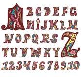 Alfabeto e numeri leggiadramente Fotografie Stock Libere da Diritti