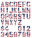 Alfabeto e numeri patriottici Fotografie Stock