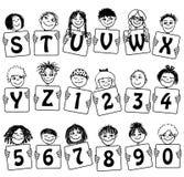 Alfabeto e numeri svegli con i fronti dei bambini disegnati a mano Fotografia Stock Libera da Diritti
