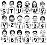 Alfabeto e numeri svegli con i fronti disegnati a mano Fotografia Stock Libera da Diritti