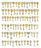Alfabeto e simboli sulle chiavi di favola Verniciatura, isolata su wh Fotografia Stock