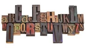 Alfabeto en bloques de impresión de la prensa de copiar imagen de archivo libre de regalías