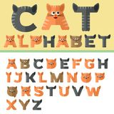 Alfabeto en el diseño plano, estilo de los gatos Fotografía de archivo