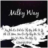 Alfabeto en el estilo de la vía láctea con el ` de la vía láctea del ` de las palabras Imagen de archivo libre de regalías