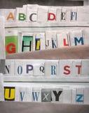 alfabeto 26 en el periódico Imágenes de archivo libres de regalías