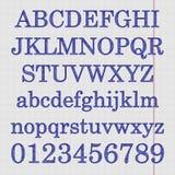 Alfabeto en la hoja del cuaderno Imagenes de archivo