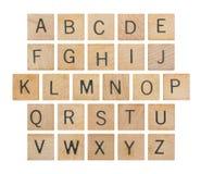 Alfabeto en la madera Foto de archivo libre de regalías