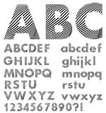 Alfabeto en las letras de la piel de la cebra del estilo, mayúsculas y minúsculas Foto de archivo libre de regalías