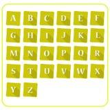 Alfabeto en nota Foto de archivo
