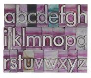 Alfabeto en tipo de la prensa de copiar del metal Imagenes de archivo