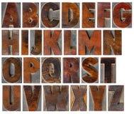 Alfabeto en tipo de madera de la vendimia fotografía de archivo libre de regalías