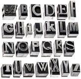Alfabeto en tipo del metal del vintage Fotos de archivo