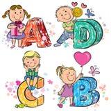 Alfabeto engraçado com crianças ABCD Imagem de Stock Royalty Free