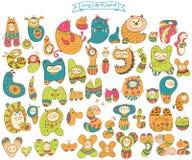 Alfabeto engraçado dos desenhos animados da garatuja Foto de Stock Royalty Free