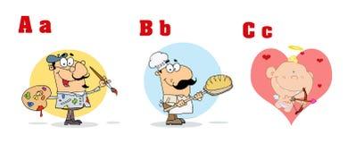Alfabeto engraçado dos desenhos animados do ABC Fotos de Stock Royalty Free