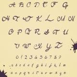 Alfabeto escrito à mão da aquarela Números e ilustração stock