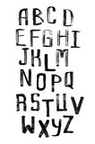 Alfabeto escrito à mão do Grunge, caligrafia moderna, letras principais Imagens de Stock