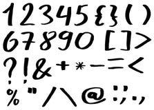Alfabeto escrito à mão - números e pontuação fotografia de stock royalty free