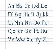 Alfabeto escrito à mão no papel alinhado ilustração royalty free