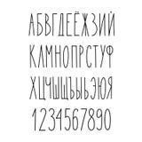 Alfabeto estrecho cirílico ruso del garabato Foto de archivo libre de regalías