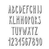 Alfabeto estrecho del garabato, letras simples Imágenes de archivo libres de regalías
