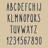 Alfabeto estrecho dibujado mano Imagen de archivo libre de regalías