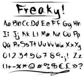 Alfabeto extraño de la fuente Imagen de archivo