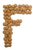 Alfabeto F de la tuerca del jengibre Fotografía de archivo libre de regalías