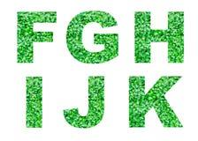Alfabeto F, G, H, I, J, K de la hierba verde aislada en blanco Alfabeto abstracto Imagen de archivo libre de regalías