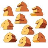 Alfabeto fatto della pietra: cifre Fotografie Stock Libere da Diritti