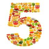 Alfabeto fatto delle frutta e delle verdure Fotografia Stock Libera da Diritti