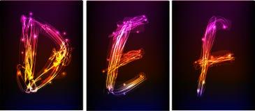 Alfabeto fatto di luce al neon Fotografia Stock
