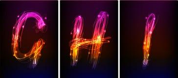 Alfabeto fatto di luce al neon Immagine Stock Libera da Diritti