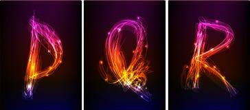 Alfabeto fatto di luce al neon Fotografie Stock