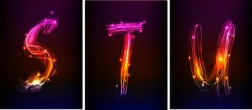 Alfabeto fatto di luce al neon Immagini Stock Libere da Diritti